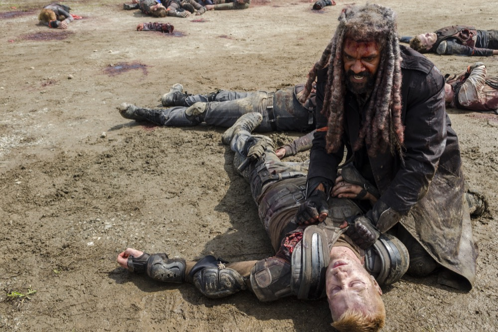 Khary Payton as Ezekiel, Daniel Newman as Daniel - The Walking Dead _ Season 8, Episode 4 - Photo Credit: Gene Page/AMC