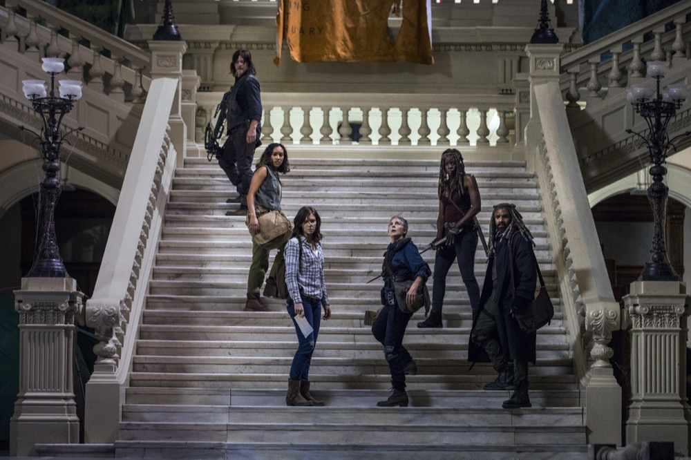 Norman Reedus as Daryl Dixon, Lauren Cohan as Maggie Rhee, Melissa McBride as Carol Peletier, Danai Gurira as Michonne, Khary Payton as Ezekiel, Sydney Park as Cyndie - The Walking Dead _ Season 9, Episode 1 - Photo Credit: Jackson Lee Davis/AMC